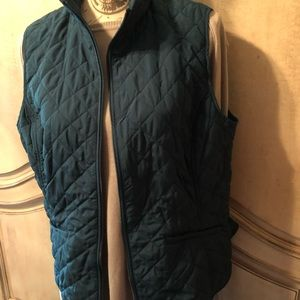 Pretty aqua quilted zip vest